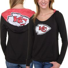 Kansas City Chiefs Women's Sublime Knit Hoodie - Black ($50) ❤ liked on Polyvore featuring tops, hoodies, black, black hooded sweatshirt, hooded pullover, black top, hooded sweatshirt and knit hoodies