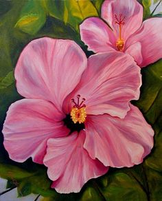 Pink Flower Painting Oil Canvas