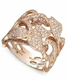 Pave Rose by Effy Collection Diamond 14k Rose Gold Diamond Leaf and Flower Ring (9/10 ct. t.w.) - Rings - Jewelry & Watches - Macy's