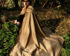 Medieval Mantle Clothing   READY TO SHIP - mantle cloak unisex gold Fantasy Renassaince Pagan ...
