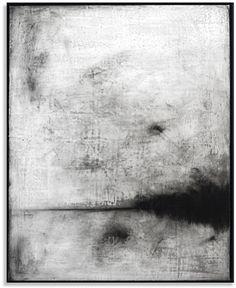 "Unattended Landscape IX c. 2013 | 16"" x 20"" | gesso sottile, charcoal, graphite, carnauba wax on wood panel"
