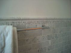 Marble subway tile with inset