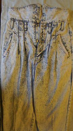 80's Vintage Traffic Acid Wash Jeans - Size 7/8 - Missing Button $33