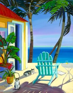 Selected artwork and art prints from Caribbean life artist Shari Erickson Art Tropical, Art Plage, Caribbean Art, West Art, Polychromos, Beach Scenes, Beach Art, Love Art, Watercolor Paintings