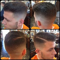 """Low fade comb over"" with a hard part."