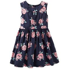 Carter's Sateen Print Dress Girls 4-6x (83 BRL) ❤ liked on Polyvore featuring kids and dresses