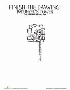 Kindergarten Fairy Tales Games Worksheets: Finish the Drawing: Rapunzel's Tower