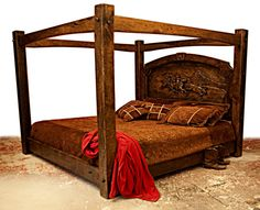 Love this bed --look at the carving on the headboard! Linen Bedding, Bedding Sets, Bed Linens, Western Bedding, Cool Beds, King Beds, Rustic Interiors, Rustic Furniture, Built Ins