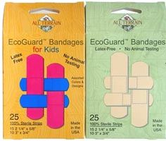 These bandaids are vegan friendly and latex-free (made from recycled PVC plastic), dyed with natural food-grade colorings, and have an animal-free, water-based adhesive.