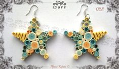 Quilled Paper Dangle Earrings by YarStuff on Etsy