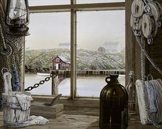 Beautiful Newfoundland artwork captured by artist Norman Bursey Window View, Window Art, Gouache, Looking Out The Window, Newfoundland And Labrador, Photo Illustration, Illustrations, Stars At Night, Local Artists