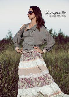 Блузка бохо, винтажный шелк и французское кружево.