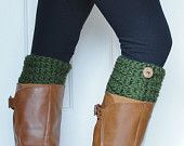 Crochet Boot Cuffs in Navy Blue w/ Button. $20.00, via Etsy.