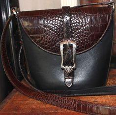 BRIGHTON Black & Brown Leather Mini Bucket Shoulder Handbag #BRIGHTON #MiniBucketBag