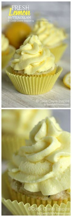 Fresh Lemon Buttercream. One of my favorite recipes! This luscious buttercream is packed with fresh lemon flavor and perfect on cake, banana bread and more!