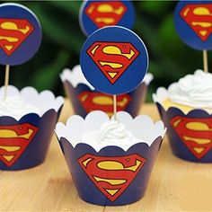 24set Superman Cupcake Wrappers Cases Decoration Birthday Party Favors for Kids Festa Cake Toppers Picks Kids Party Supplies -- Read more reviews of the product by visiting the link on the image. Superman Cupcakes, Superman Party, Superman Birthday, Superhero Party, Girl Cupcakes, Wedding Cupcakes, Birthday Party Favors, Birthday Party Decorations, Birthday Cakes