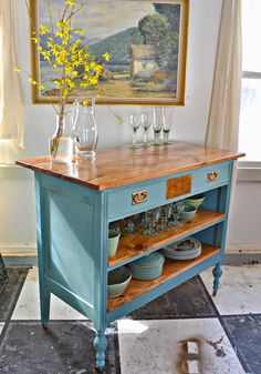 Heir and Space: Antique Dresser Turned Kitchen Island - Kitchen - Best Kitchen Decor! Refurbished Furniture, Repurposed Furniture, Furniture Makeover, Painted Furniture, Furniture Vintage, Diy Mesa Cozinha, Furniture Projects, Home Furniture, Upscale Furniture
