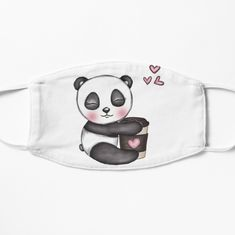 'Cute Panda with Coffee' Mask by Pienkerbelle Coffee Mask, Cute Panda, Make A Donation, Mask Design, Snug Fit, Masks, My Arts, Art Prints, Printed