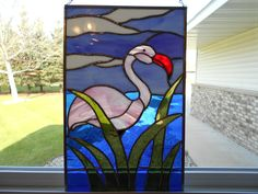 "A Beautiful Pink Flamingo Stained Glass Panel New 10 5"" by 16 5"" Handcrafted 