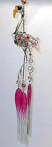"""Image detail for -HOT PINK FLAMINGO CRACKED GLASS COPPER 24"""" WIND CHIMES"""