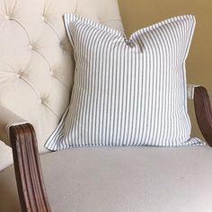 Ticking stripe throw pillow, reupholstered office chair with drop cloth. Tufted office chair. Ticking throw pillow cover by @flatcreekfarmhouse.   #Regram via @gatherandflourish