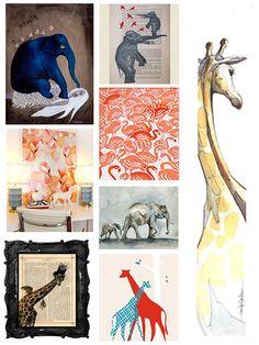 Modern Safari - elephant, giraffe & flamingo modern nursery inspiration