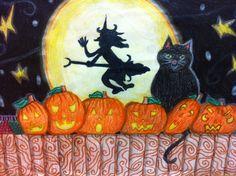 Halloween tekeningen gemaakt met groep 8. Materiaal: kleurpotlood en stift.