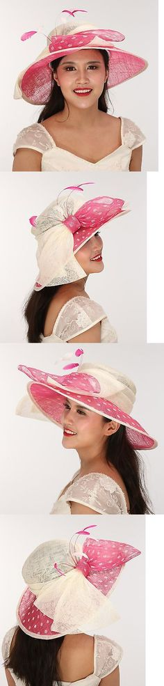 Women Formal Hats: Church Kentucky Derby Carriage Tea Party Wide Brim Royal Ascot Ivory W Hot Pink BUY IT NOW ONLY: $55.99