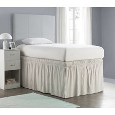 Shop for Ruffled Dorm Sized Bed Skirt - Silver Birch. Get free delivery On EVERYTHING* Overstock - Your Online Fashion Bedding Store! Get in rewards with Club O! Dorm Bedding Sets, Twin Xl Bedding, Ruffle Bedding, Dorm Bed Skirts, Ruffle Bed Skirts, White Bed Skirt, College Comforter, Bed Wrap, Tall Bed