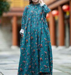 Women Cotton long dresses, plus size boho maxi dress, skater dress, long Oversized Dresses
