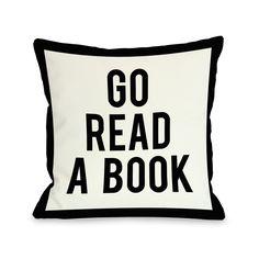 One Bella Casa Gingham Go Read A Book Throw Pillow