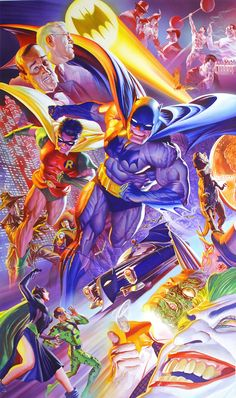 """To celebrate the #DarkKnight's #legacy Alex Ross created this #dramatic #painting full of important visual references of his history.#comcs With the design, Ross pulls the Golden Age of Batman right into the modern age and beyond.Created by artist, Bob Kane and writer, Bill Finger in 1939, Batman first appeared in Detective Comics #27. During his years at DC Comics he has been referred to as the Caped Crusader"""", """"the Dark Knight"""" and """"the World's Greatest Detective"""" among other titles."""