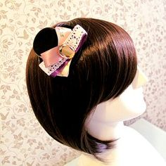 8cm Layered Ribbon Lady Top Hat Clip Hair Derby Fascinator Costume Cocktail Lolita Party