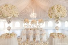 Blush colored wedding ~ Romantic crystal chandelier and draping