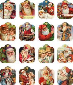 Christmas 11 Digital Collage Sheet — 2 inch tags format.  Beautiful 2 inch Santa tags.