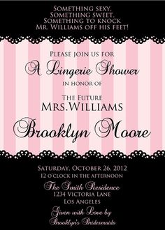 Victoria Secret Bridal Shower Invitations with amazing invitation template