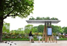 Exploring the smart urban furniture of Escale Numérique, by JCDecaux and Mathieu Lehanneur, Paris, France.