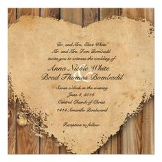 Rustic Tattered Heart Wood Look Country Wedding Personalized Invitation I love them!