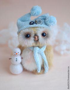 Новый год, Ирвин и снеговик.Коллекционная авторская игрушка тедди сова -