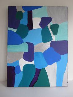 Abstraite bleue verte argentée peinture originale par GemHeartArt