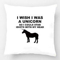 Wish   I Wish I Was A Unicorn Cream Throw Pillow Wedding Decorative Cushion Cover Pillow Case Almofadas Pillowcase Cojines          MÅ HA
