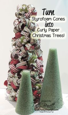 www.PattyStamps.com - how to make curly paper Christmas trees made from styrofoam cones! Great Christmas decor craft!