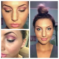 Pink and gold makeup. Gold all over lid first, then shades of pink around the crease.