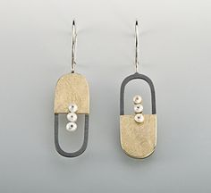 Earrings | Janis Kerman Design what if it was a chain of pieces like this? could be bracelet or earrings.