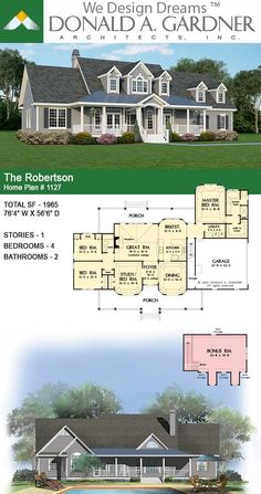 House Plans - The Robertson - Home Plan 1127 Barn House Plans, New House Plans, Dream House Plans, The Plan, How To Plan, Modern Floor Plans, Warm Home Decor, Country Style House Plans, House Blueprints