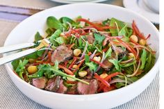 Inspired by the Australian bush, this iconic dish teams tender kangaroo meat with macadamia salad.