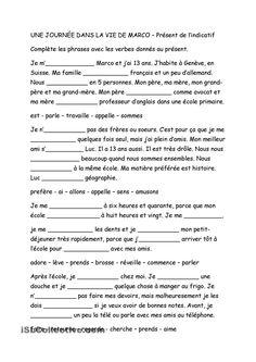 Une journée dans la vie de Marco - Présent de lindicatif French Language Lessons, French Language Learning, French Lessons, French Flashcards, French Worksheets, High School French, French Class, French Verbs, French Grammar