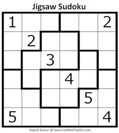Jigsaw Sudoku Puzzle (Mini Sudoku Series #110) Sudoku Puzzles, Jigsaw Puzzles, Puzzle Place, Printable Puzzles For Kids, Brain Teasers, Riddles, Mini, Libros, Mind Games