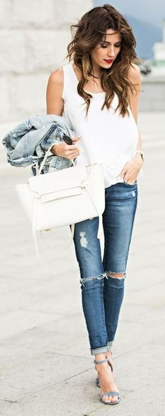#summer #casualchic #outfits | Scalloped White Top + Denim