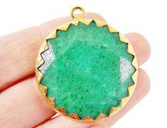36mm Emerald Green Faceted Jade Pendant  22k Matte by LylaSupplies, $11.50